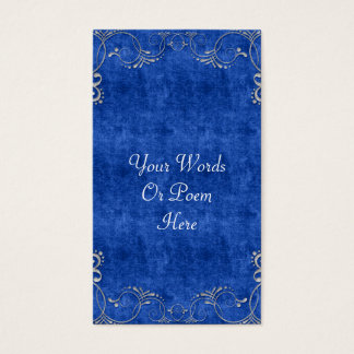 Sea Blue & White Velvet Deco Diamond Wedding Business Card
