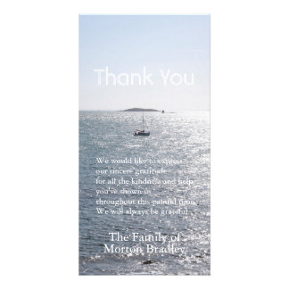 Sea Boat and Island -3- Sympathy Thank You Customized Photo Card