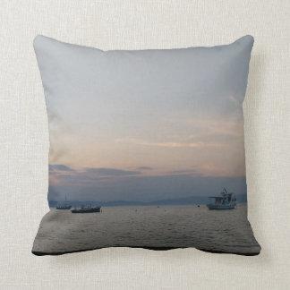 Sea Boats Throw Cushion Sunset Thassos