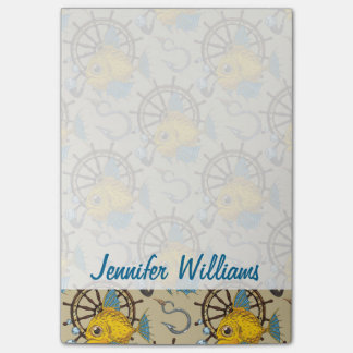 Sea Captain Fish Pattern | Add Your Name Post-it Notes