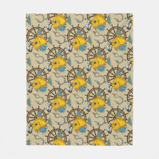 Sea Captain Fish Pattern Fleece Blanket