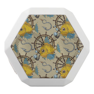 Sea Captain Fish Pattern White Bluetooth Speaker