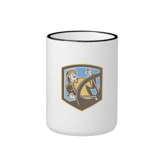 Sea Captain Fisherman Steering Shield Retro Coffee Mugs