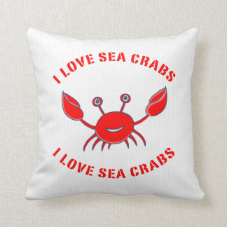 Sea-Crab In Red On White Stripes Cushion