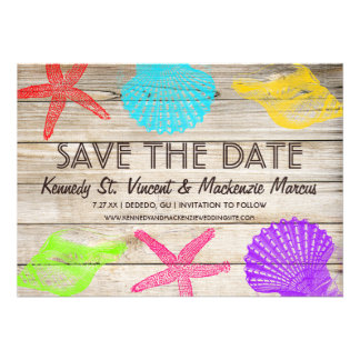 Sea Creatures Beach Wedding Save the Date Cards