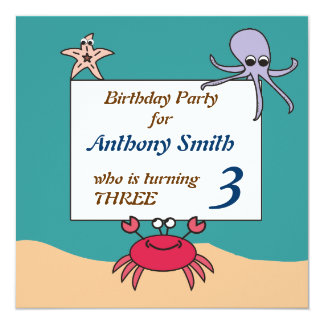 Sea Creatures Birthday Invitation