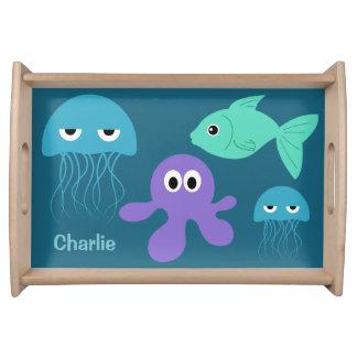 Sea Creatures custom serving trays