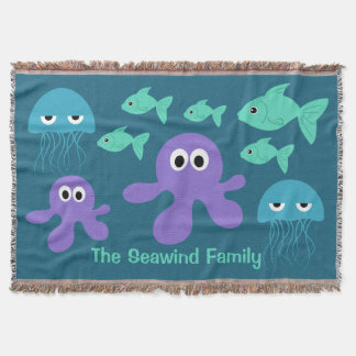 Sea Creatures custom throw blanket