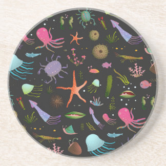 Sea Critters Pattern Beverage Coasters