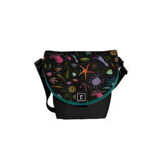 Sea Critters Pattern Messenger Bags