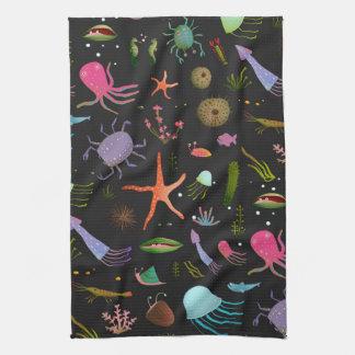 Sea Critters Pattern Tea Towel