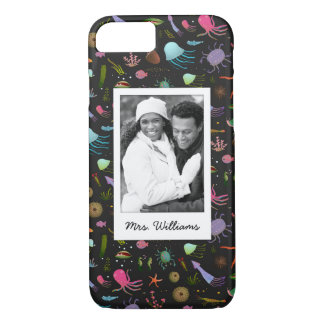 Sea Critters Pattern | Your Photo & Name iPhone 7 Case