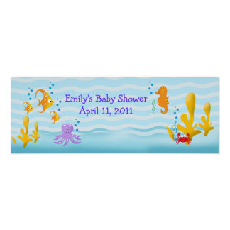 Sea Critters Sealife Customizable Birthday Banner Posters