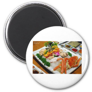 Sea Cucumber, King Crab Etc Sushi Gifts & Cards 6 Cm Round Magnet