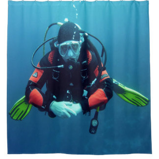 Sea Diver With Oxygen Tank Blue Backgroud Shower Curtain