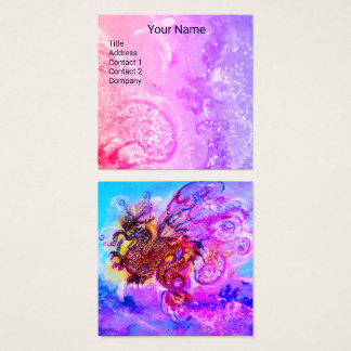 SEA DRAGON AND BLUE WAVES Fantasy Pink Purple Square Business Card