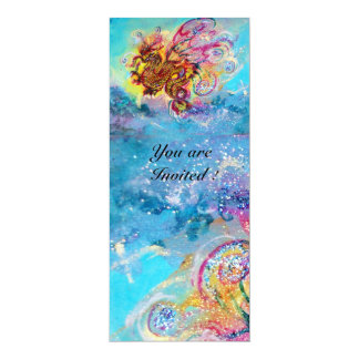 SEA DRAGON blue violet purple black yellow 10 Cm X 24 Cm Invitation Card