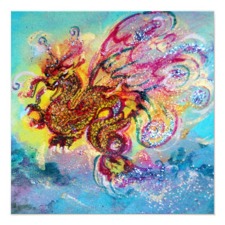 SEA DRAGON blue violet purple black yellow 13 Cm X 13 Cm Square Invitation Card