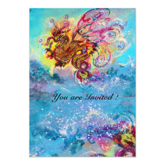 SEA DRAGON blue violet purple black yellow 13 Cm X 18 Cm Invitation Card