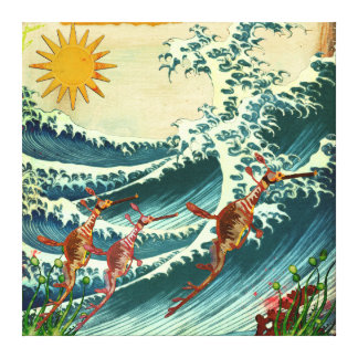 Sea Dragons Rough Water Canvas Gallery Wrapped Canvas