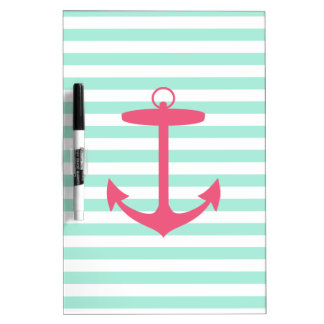 Sea Foam Green and Pink Anchor Dry Erase Board