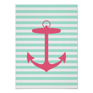 Sea Foam Green and Pink Anchor Poster