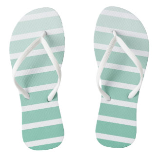 Sea Foam Green Stripe Shades Flip Flops