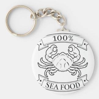 Sea food 100 percent label key chains