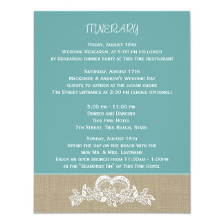 Sea Garland Beach Wedding Itinerary Card