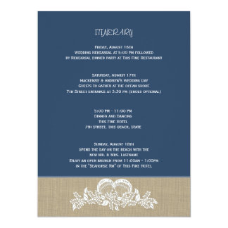 Sea Garland Beach Wedding Large Itinerary Card