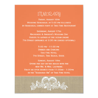 Sea Garland Tropical Beach Wedding Itinerary Card