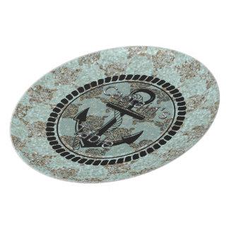 Sea-glass-Anchor-Captain's-Table(c) Aqua-Brown Party Plates