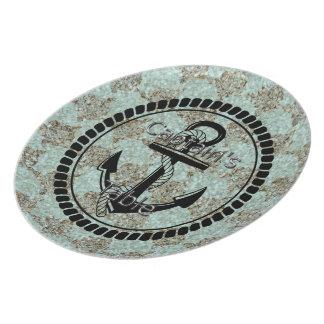 Sea-glass-Anchor-Captain's-Table-III(c) Aqua-Brown Plate
