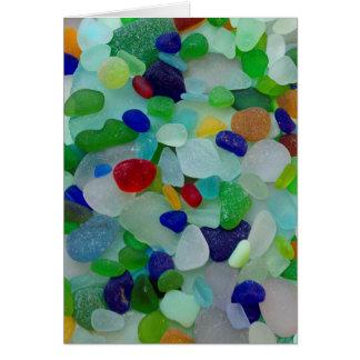Sea glass, beach glass art photo greeting card