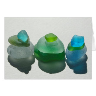 Sea glass, beach glass, blue, green, aqua, blank card