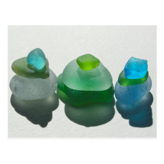 Sea glass, beach glass, blue, green, post card