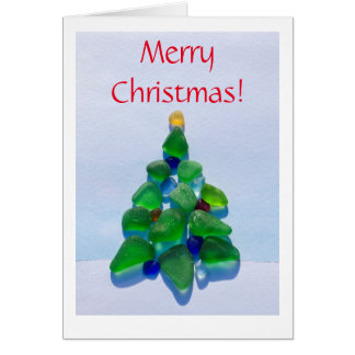 Sea glass, beach glass Christmas Holiday card