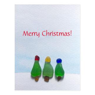 Sea glass, beach glass Christmas post card