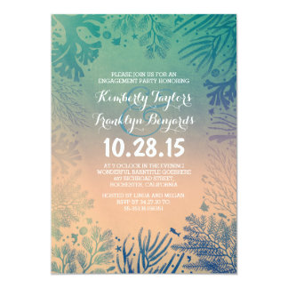 Sea glass Beach Underwater Corals Engagement Party Card