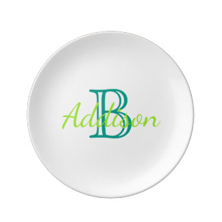 Sea Glass Green and Turquoise Monogram Porcelain Plate