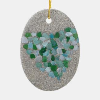 Sea glass heart ceramic oval decoration