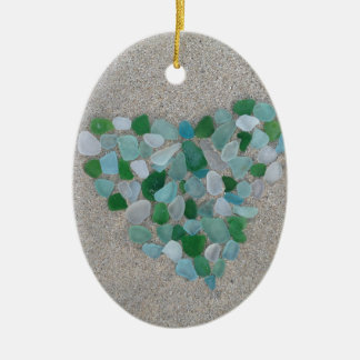 Sea glass heart christmas ornament