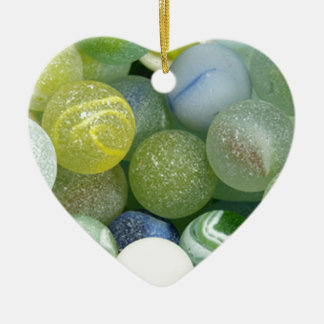 Sea Glass Marbles Ceramic Heart Decoration