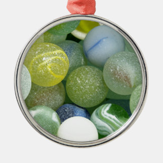 Sea Glass Marbles Silver-Colored Round Decoration
