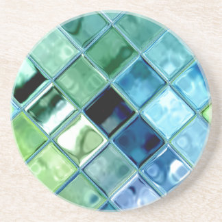 Sea Glass Mosaic Tile Art Beverage Coaster