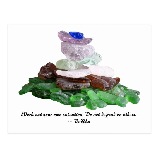 Sea Glass Pyramid With Buddha Quote Postcard