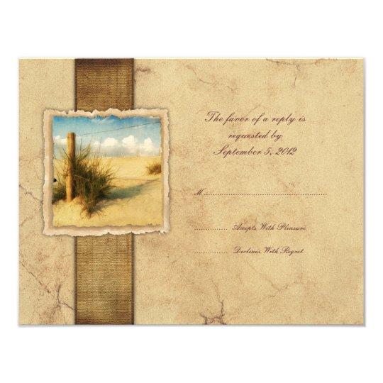 Sea Grass Vintage Wedding RSVP Card