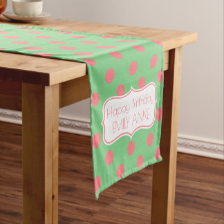 Sea Green and Coral Pink Personalized Birthday Short Table Runner