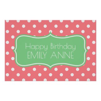 Sea Green and Coral Pink Polka Dot Personalized Poster