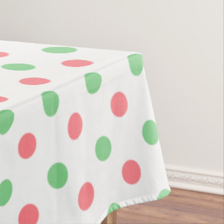 Sea Green and Coral Pink Polka Dots on White Tablecloth